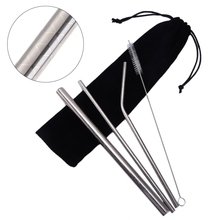 5pcs Reusable Eco Friendly Straw 304 Stainless Steel Metal Smoothies Drinking Straws Set with Brush & Bag