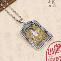 Новый Серебро 925 тибетских Белая Тара танка кулон Цепочки и ожерелья настоящий серебристый буддист Тара Будда Цепочки и ожерелья подвеска