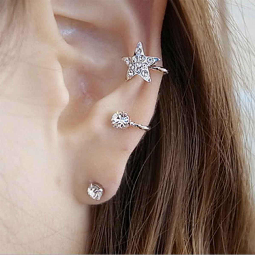 DoreenBeads New Fashion Ear Cuff Wrap Earrings Jackets On Set For Left Ear Star Silver Tone Rhinestone W/Stoppers 22 x 17mm