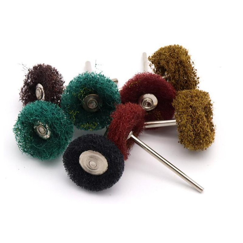 3mm Shank Nylon Fiber Mini Brush Scouring Pad Abrasive Tool Removing Burr Rotary Buffing Metal Polishing Wheel For Dremel