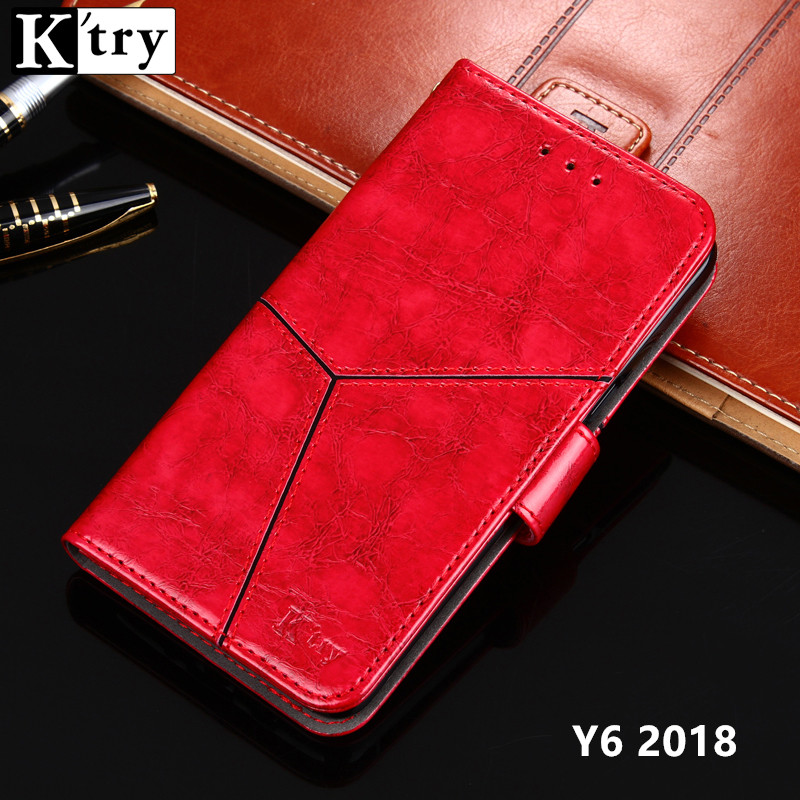 K'TRY For Huawei Y6 2018 Case Leather Flip Case for Huawei Y6 2018 Wallet Phone Funda Y6 2018 Stand Cover 5.7''