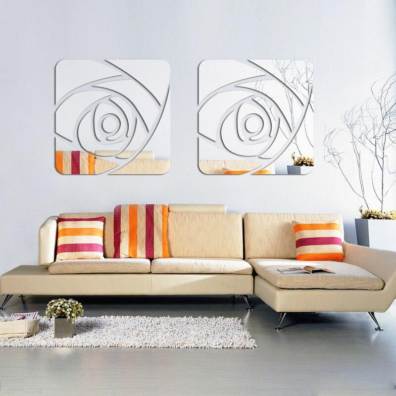 Nouveau grand 3d stickers muraux salon maison décoratif moderne acrylique grand miroir modèle surface réel mode bricolage sticker mural