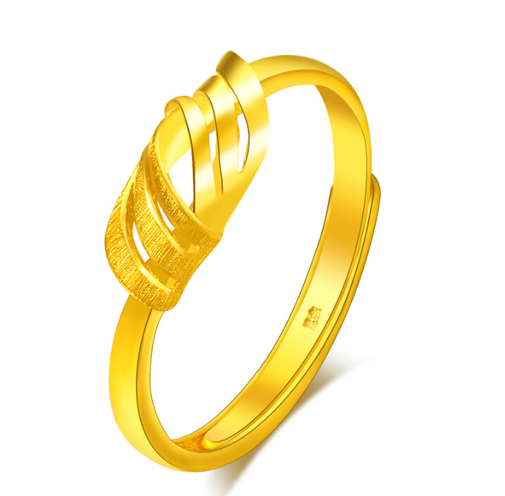Fine Jewelry Pure 24k Yellow Gold Ring Unique Knot Design Adjustable Ring