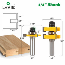 LAVIE 2pcs 12MM 1/2 Shank Tenon Cutter Floor Wood Bits T type Groove and Tongue Router Bit 3 Teeth Milling Cutter For Wood 03017