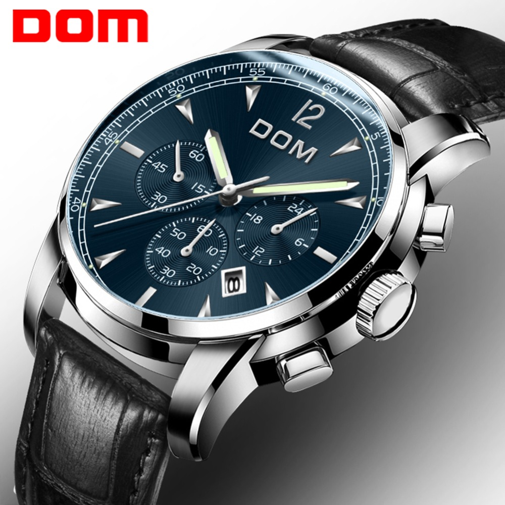 DOM Man Watches Luxury Brand  Chronograph Men Sports Watches Waterproof Leather Quartz Men's Watch Montre Homme M-75L-2MPE