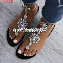 583af2f8f5e437 Gladiator Ankle Wrap Rhinestone Diamond Embellished Sandals Summer Fashion Crystal  Women Flats Shoes Clip-on