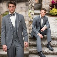 2017 Latest Coat Pant Designs Smoking Grey Wedding Suits For Men Style Jacket Skinny 3 Piece Tuxedo Custom Prom Blazer Masculino