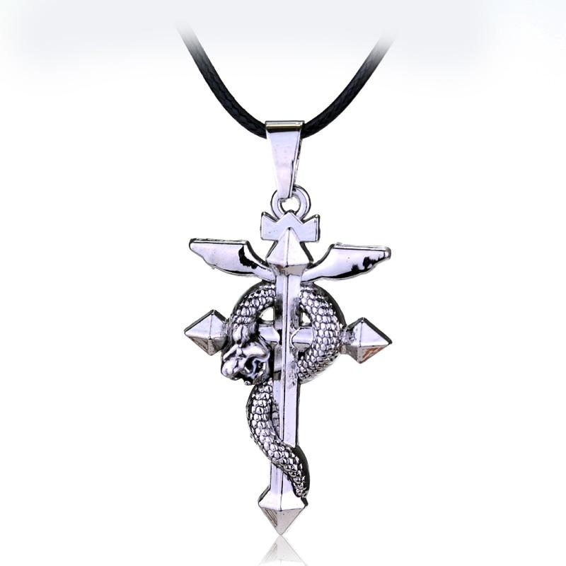 Популярное аниме цельнометаллическое металлическое ожерелье-Алхимик MQCHUN, крест, подвеска-змея, аксессуары для косплея, ювелирные изделия, ...