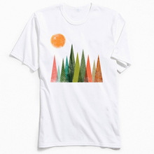 In The Forest Men T Shirt Casual Summer Tshirt New Design Geometric Printed T-Shirt Pure Cotton Short Sleeve Tops Tees For Adult цена и фото