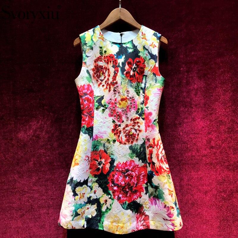 Svoryxiu 2019 Runway Custom Summer Flower Print Jacquard Tank Short Dress Women s luxury Crystal Beading