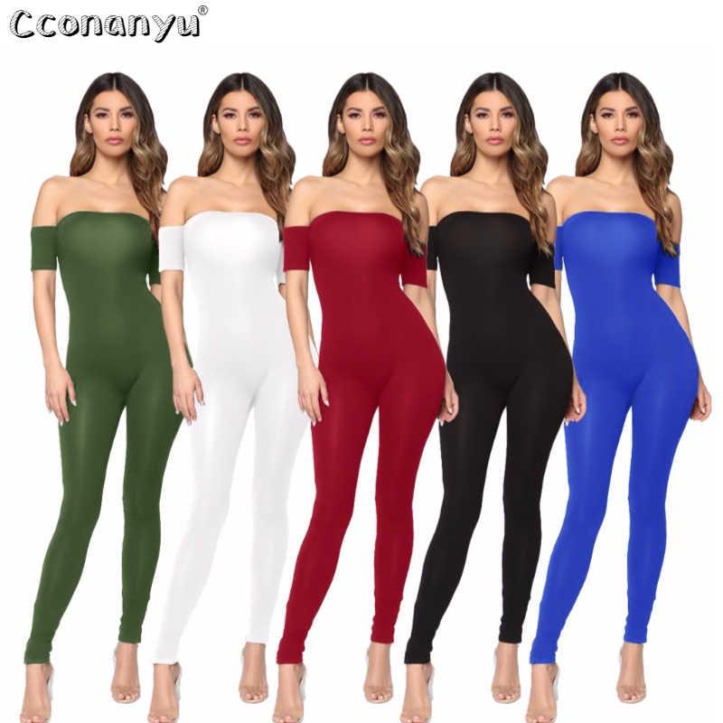 Seksi kadınlar için açık omuzlu kısa kollu tulum zarif 2019 yaz siyah tulumlar kadınlar için tulum ve tulum sıska Clubwear