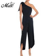 Max Spri 2019 Women Jumpsuit Asymmetric One Shoulder Sleeveless Romper Solid Color Sexy Bodycon Jumpsuit sexy square neck solid color button embellished sleeveless romper for women