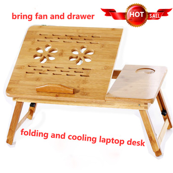Portable wood laptop desk folding computer bed table notebook support stand with cooling Lap Sofa breakfast Tray write standing