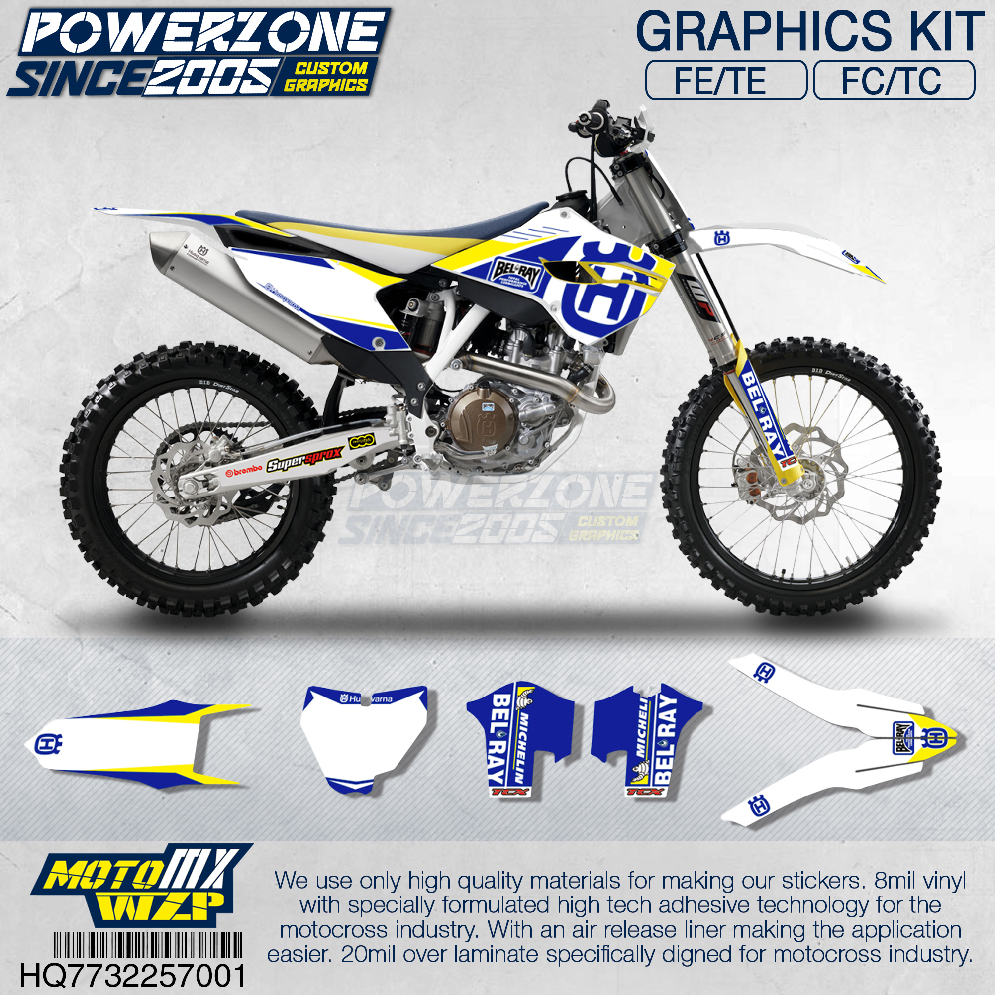 PowerZone  Customized Team Graphics Backgrounds Decals 3M Custom Stickers For Husqvarna  2014 To 19 FE TE FC TC 250 To 500cc 01