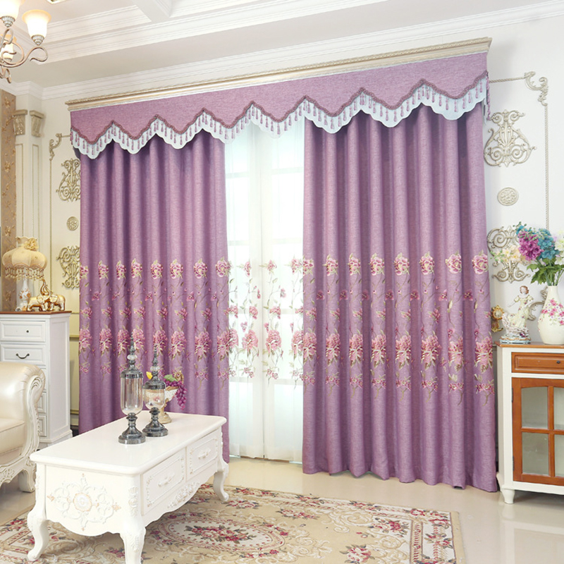 European Purple Curtains For Living Room Voile Tulle Bedroom Faux Linen Blackout Window Curtain
