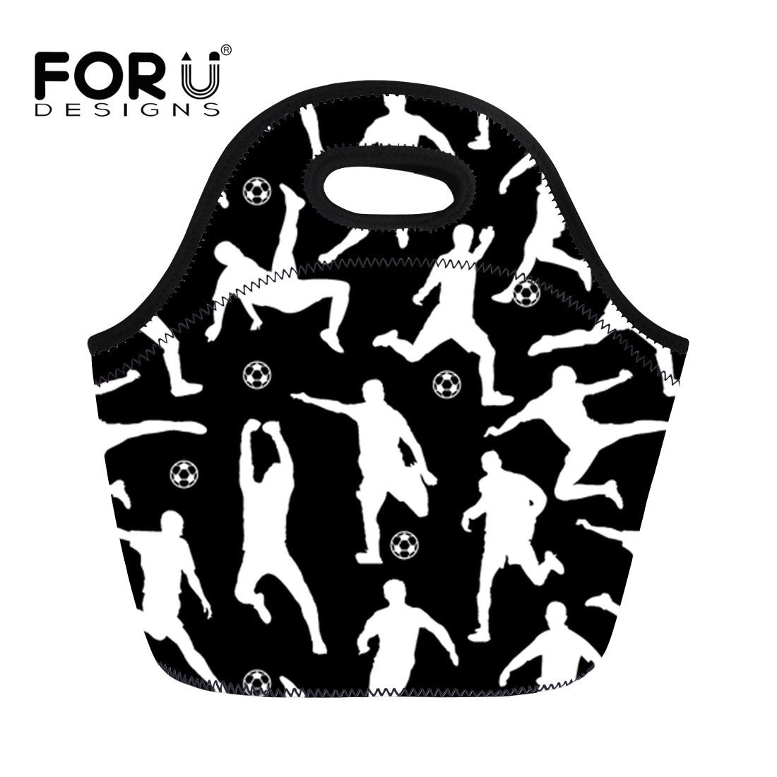 FORUDESIGNS Black Portable Insulated Lunch Bags for Women Kids Neoprene Cooler Food Picnic Tote Handbags Bolsa Termica Lancheira