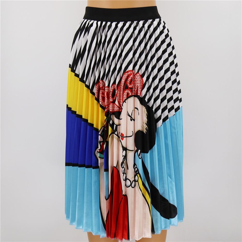 Fashion Summer Patterns Character Skirt Waist Skirt Women Elastic Waist Spring Cartoon Pleated Long Skirts Female in Skirts from Women 39 s Clothing