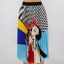 Fashion Summer Patterns Character Skirt Waist Skirt Women Elastic Waist Spring Cartoon Pleated Long Skirts Female drawstring waist pleated skirt