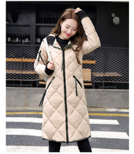 Autumn Winter Women Long Coat Elegant Hooded Down Cotton Woman Coat Slim Warm Padded for women
