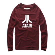 New Brand Fashion Clothing Pop Atari Printed Cotton T-shirt Autumn Styles Round Neck Homme T shirts Street HipHop Slim Fit Tops