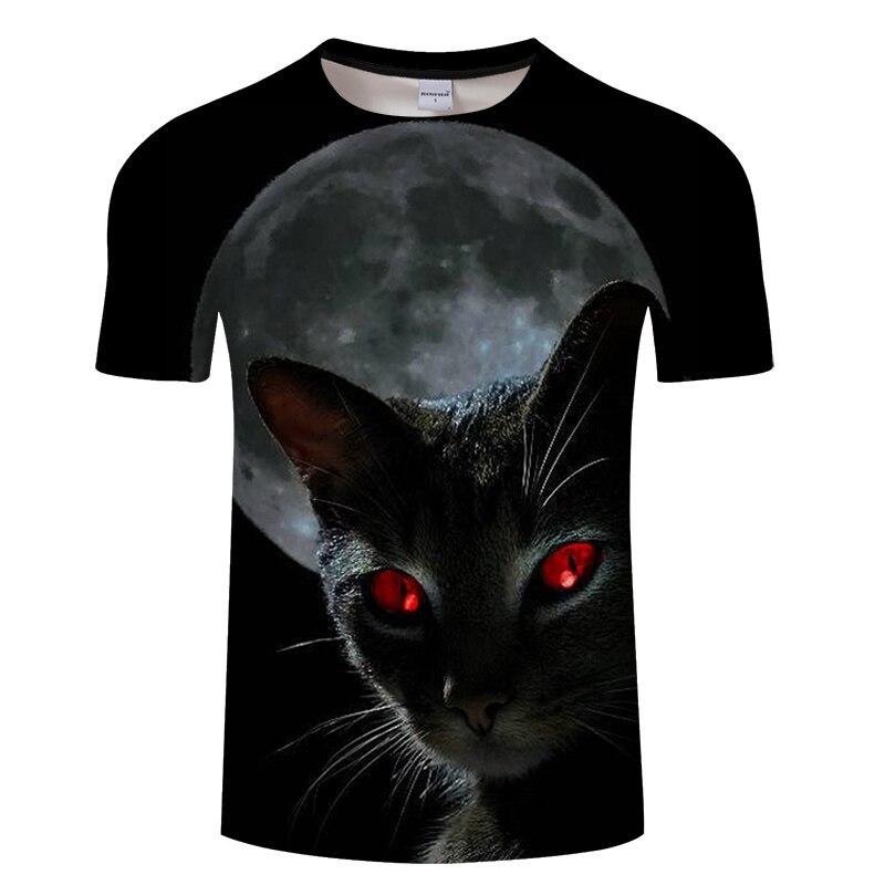 Черная футболка с 3D принтом кота для мужчин и женщин, летняя повседневная футболка с коротким рукавом и круглым вырезом, Топы И Футболки, Забавные футболки, Азиатские размеры S-6XL