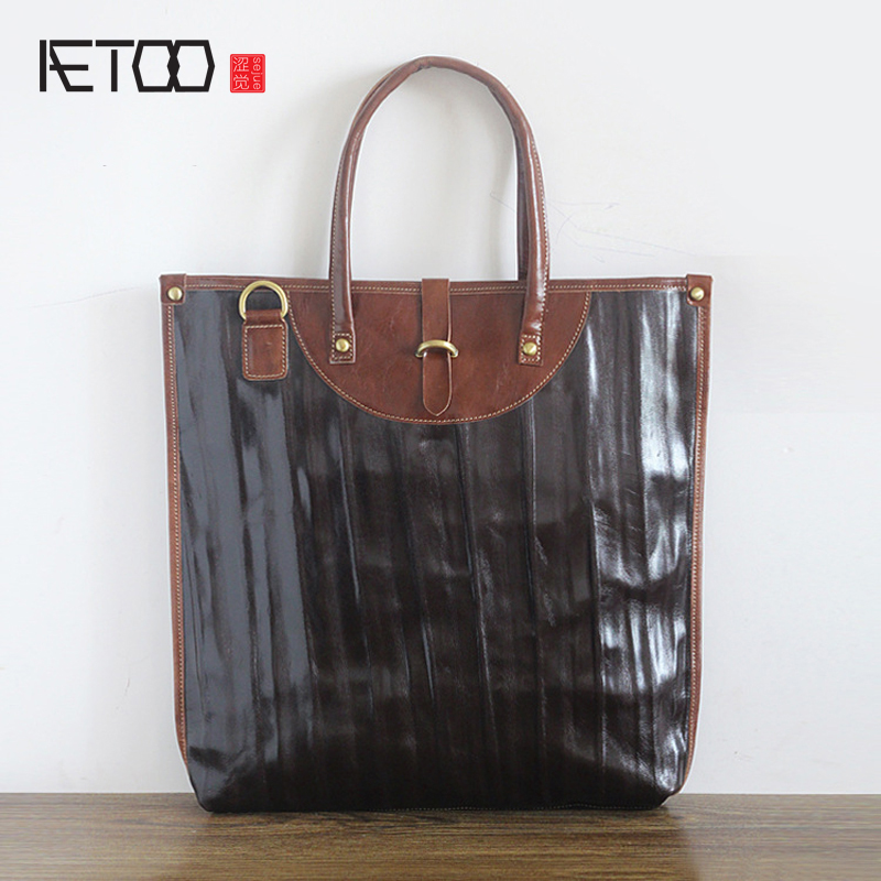 AETOO New first layer of leather ultra-thin 14-inch computer bag Korean brief briefcase men ladies shoulder bag qiaobao 2018 new korean version of the first layer of women s leather packet messenger bag female shoulder diagonal cross bag