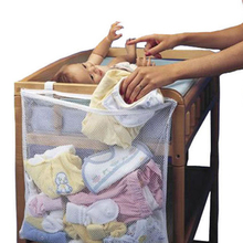 Baby storage bag baby changing dirty cloth organizer for baby cribs Suction Net Bag