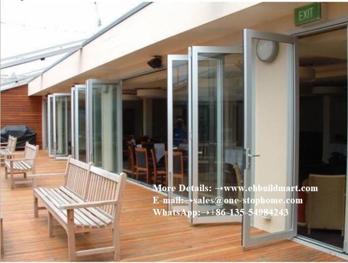 Conception de porte bi-pliante d'impact d'ouragan d'alliage d'aluminium, porte de grange, matériel, porte coulissante, porte d'entrée, porte de panneau, intérieur de portes