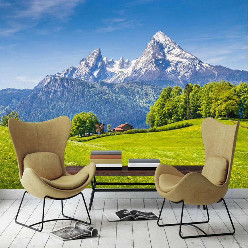 3d Wallpaper for Living Room Home Improvement Modern Background Wall Painting Mural Silk Paper mountain green grass wallpapers large painting home decor relief green flowers hotel background modern mural for living room murales de pared 3d wallpaper