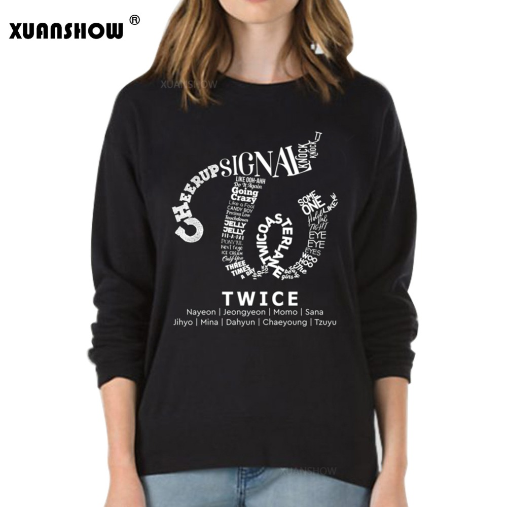 XUANSHOW Sweatshirt Women Fashion Korean Star TWICE Fans Clothing Long Sleeve Fleece Pullovers Harajuku KPOP Clothes Top S-XXL