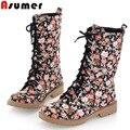 2015 NOVA moda lace up mulheres botas outono Estilo College meia botas de inverno flor da lona botas de neve flats EUR tamanho 34-39