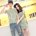 Summer New Fashion Korean Couple Shirt Short Sleeve Matching Couples T-Shirt Men Women Blusas Strapless Dress Lovers Clothes