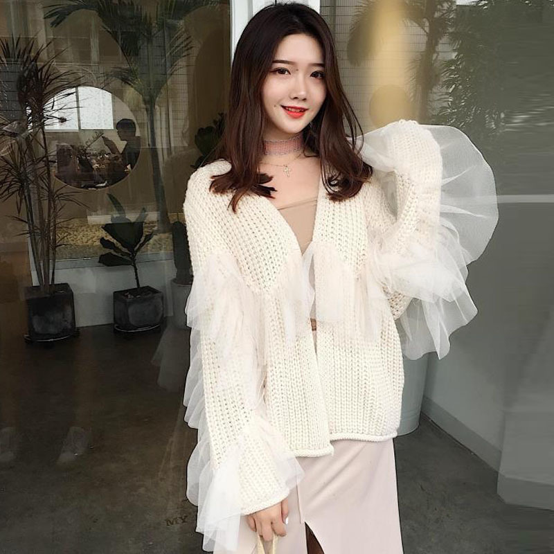 71a1c35bf0 OLOEY2019 Autumn Winter New Vintage Korea Chic Short Fairy Mesh Patchwork  Knitting Lace Ruffles Cardigan Sweater