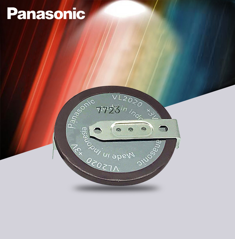 Panasonic Original VL2020 3V 20mAh Coin Type Rechargeable 180 Degrees Fillet Lithium Button Cell Battery