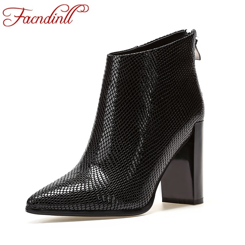 FACNDINLL shoes woman ankle boots genuine leather sexy high heels pointed toe black shoes woman dress party wedding riding boots facndinll women ankle boots autumn shoes handmade genuine leather high heels black sexy pointed toe brand shoes woman snow boots