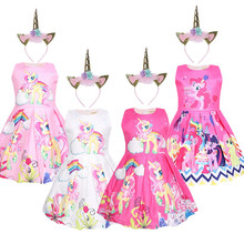 2019 New Baby Kids Dresses Girls Dress Sleeveless Clothing Children Princess Party Dress Unicorn Clothes цена в Москве и Питере