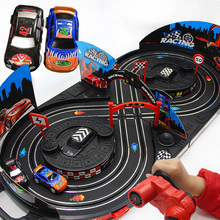 1:43 Hand version Electric rail car track set double RC racing kids toys for children boys gift brinquedos juguetes diecast