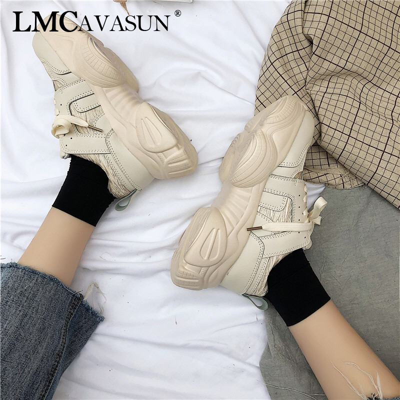 LMCAVASUN New Breathable Chunky Platform Sneakers Women Leather Shoes Woman Trendy Trainers Female Shoes Basket Female Сникеры