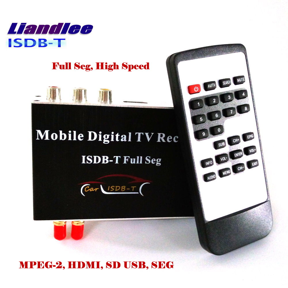 лучшая цена Liandlee HD Full Seg ISDB-T Car Digital TV Receiver Host D-TV Mobile HD TV Turner Box HDMI / 2 Signal Antenna/ ISDB-T-M-389F