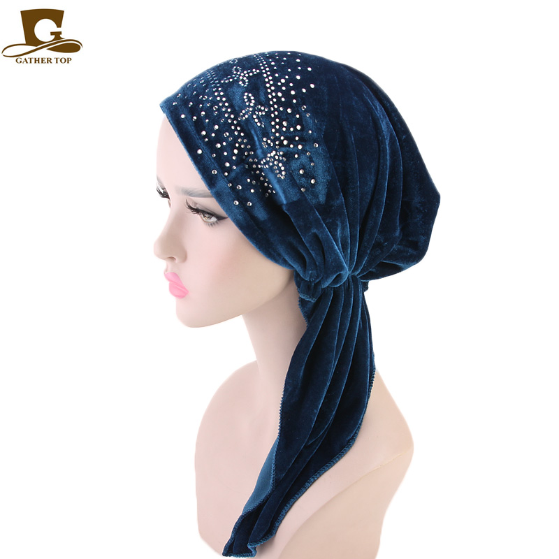 New velvet Cross rhinestone Head Scarf Pre Tied turban Chemo Hat Beanie Sleep cap Womens   Headwear   with elasticity