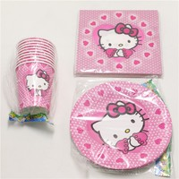60pcs Lot Baby Shower Tissues Kids Favors Paper Plates Cups Hello Kitty Dishes Glass Birthday Party