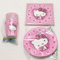 60pcs dużo Baby Shower Tkanek Dzieci Sprzyja Hello Kitty Naczynia Talerze Papierowe Kubki Szklane Materiały Birthday Party Decoration Serwetki