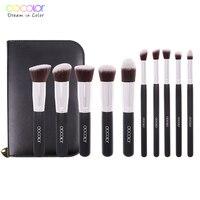 Docolor 10Pcs Pro Makeup Blending Blush Set Cosmetic Make Up Brushes Tool Black Soft Nylon Hair