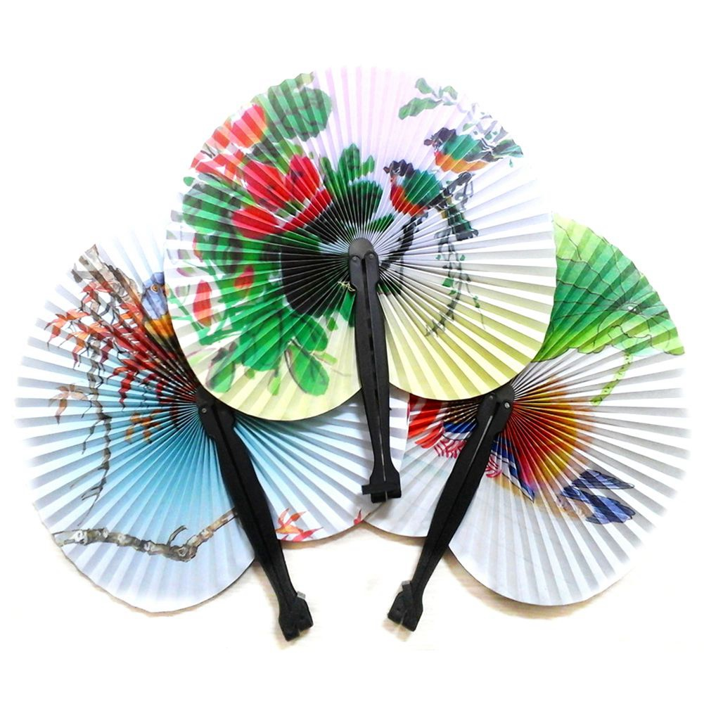 24X Folding Paper Fans - Pretty Chinese Designs - Girls Party