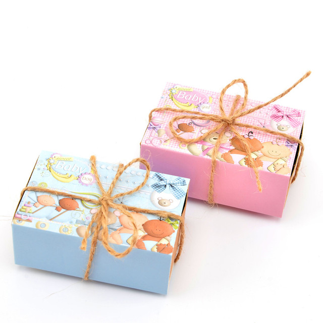 50pcs Kraft Paper Chocolate Box Birthday Boy Girl Baby Shower Favor