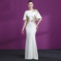 2019 элегантные женские красные белые вечерние платья с аппликация золотого цвета Половина рукава Атласное с юбкой русалкой Выпускные плать