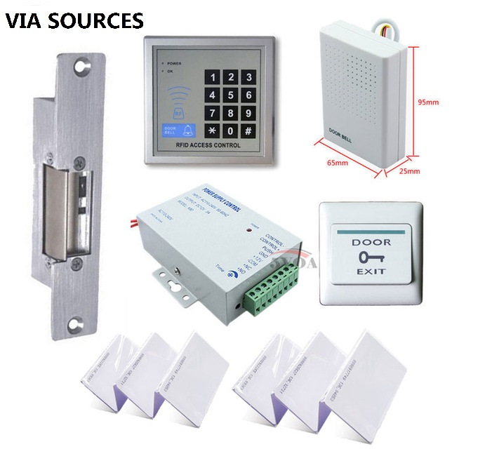 Free Shipping RFID Access Control System Kit Set  Strike Door Lock  ID Card Keytab  Power Exit Button Complete Security KitFree Shipping RFID Access Control System Kit Set  Strike Door Lock  ID Card Keytab  Power Exit Button Complete Security Kit