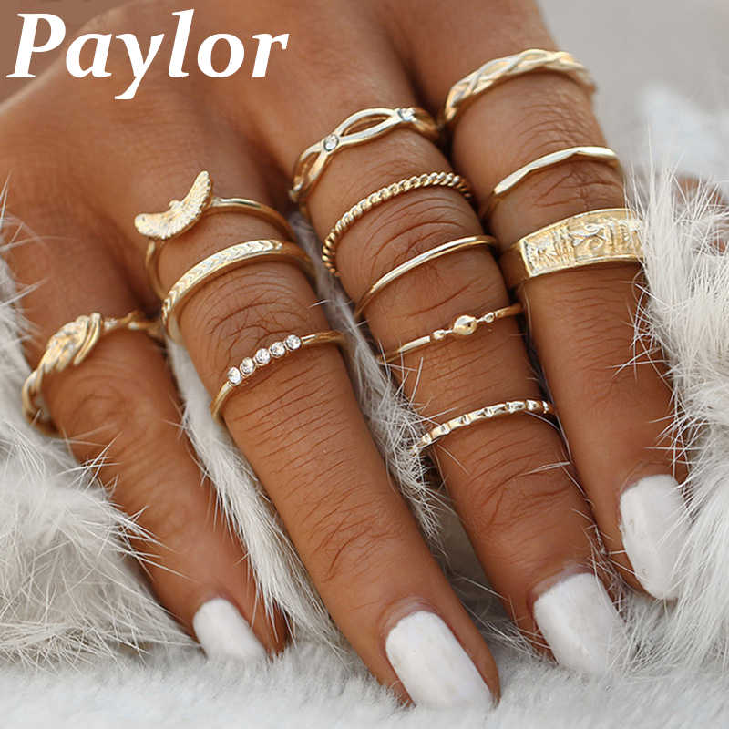 12 Pcs/Set New Fashion Gold Color Knuckle Rings Set For Women Vintage Charm Finger Ring Female Party Jewelry Drop Shipping