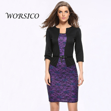 Summer Dress Womens Elegant 2 piece set women Belted Tartan Patchwork Wear to Work Business Lace Pencil Sheath Bodycon Dress