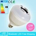 E27 Lâmpada LED Bluetooth Speaker Áudio sem fio 12 W de Energia Lâmpada de Luz Música Tocando rgb com 24 Teclas de controle remoto IR controle